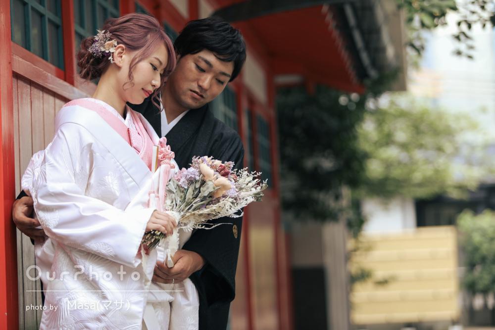 「楽しい挙式になりました」神社で白無垢姿のウエディングフォトの撮影