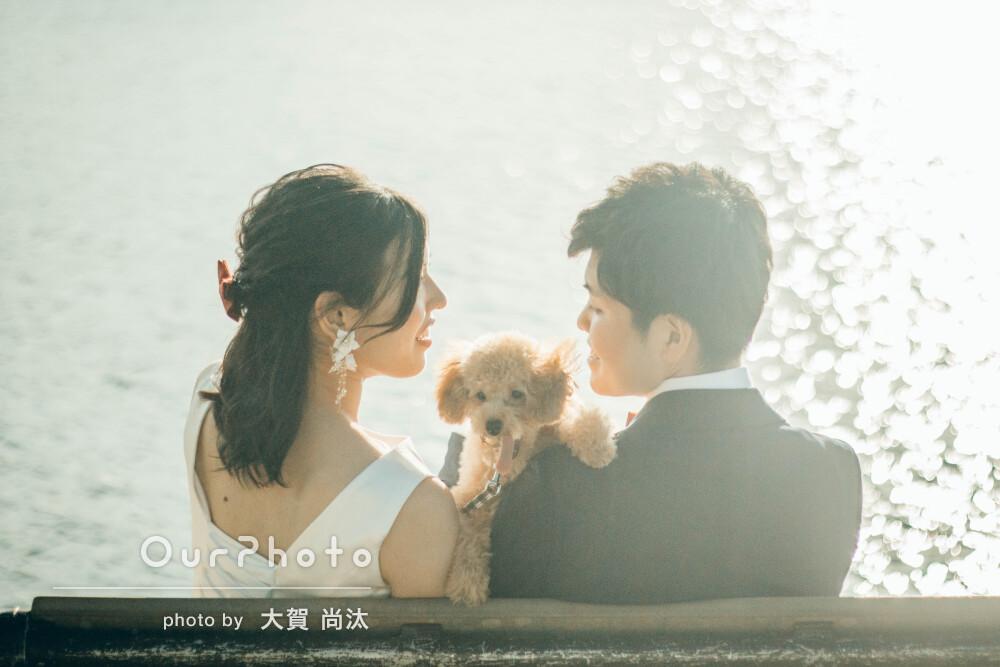 秋を感じる公園で仲睦まじい様子が伝わってくる夫婦と可愛いペットの撮影