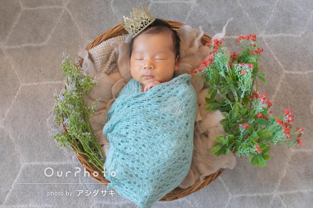 「可愛い新生児期を思い出に」自宅で姉妹とニューボーンフォトの撮影