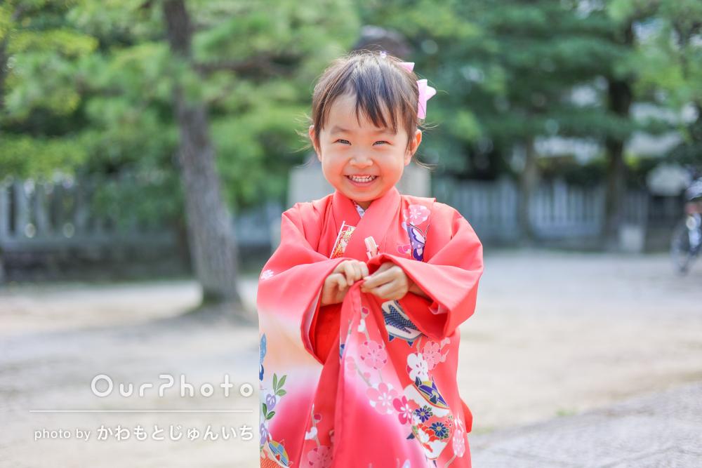 「人見知りの我が子も終始笑顔」にっこり可愛い女の子の七五三の撮影