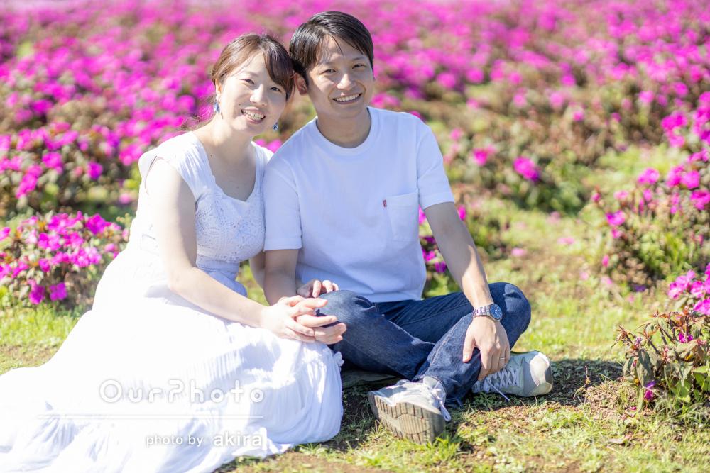 「どれも期待以上の写真ばかりでした」お花に囲まれたカップルフォト撮影