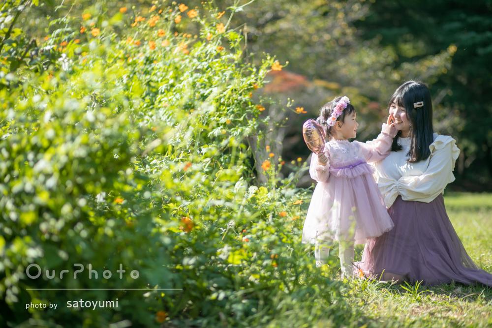 「可愛い写真たくさん撮っていただき」秋の気配を感じる家族写真の撮影