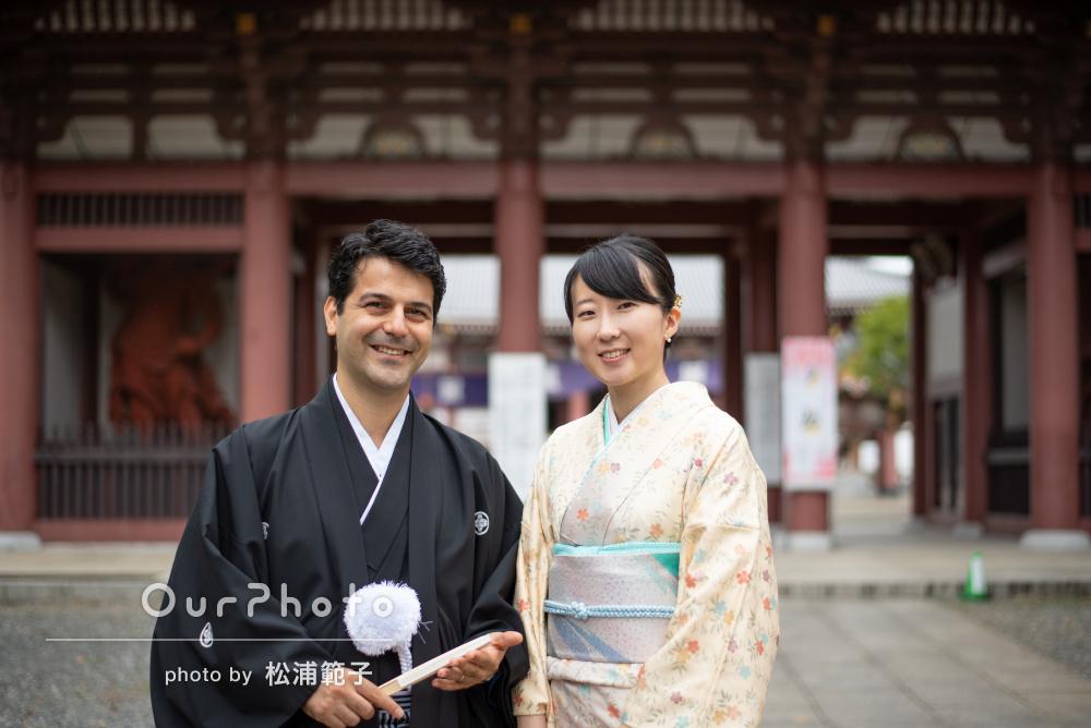 「とても楽しく思い出に残る写真撮影」お寺を巡るカップルフォトの撮影