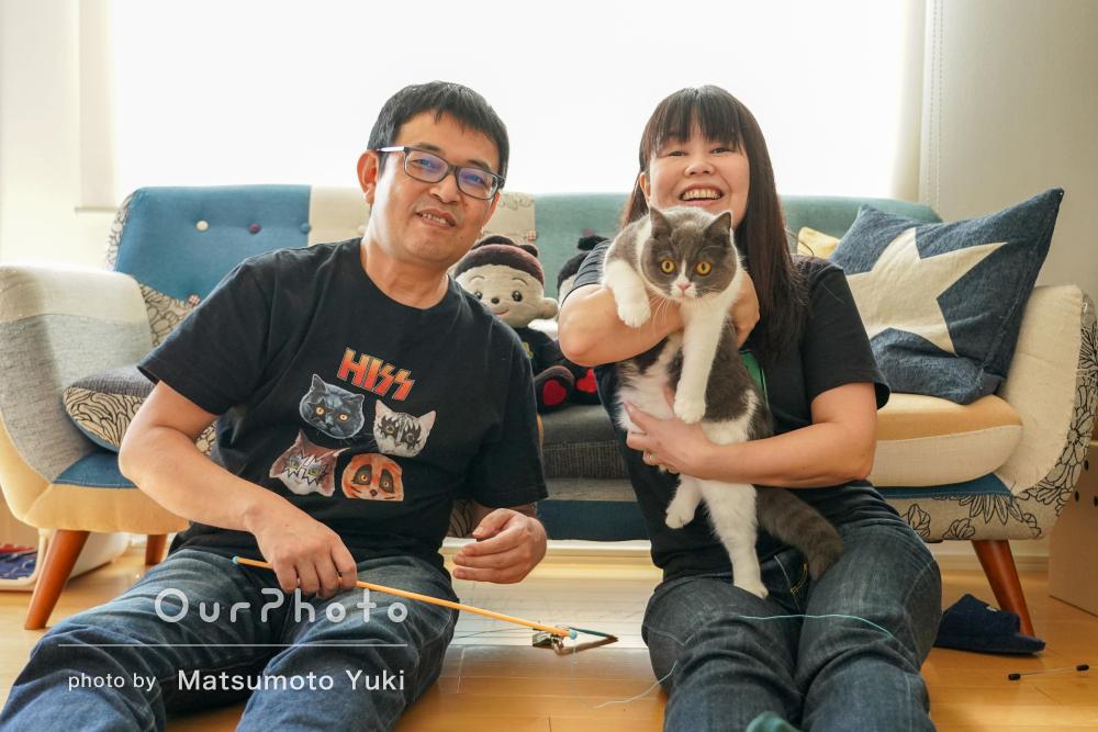 「にゃんこのことを第一に考え、気遣って」ペットと一緒に家族写真の撮影