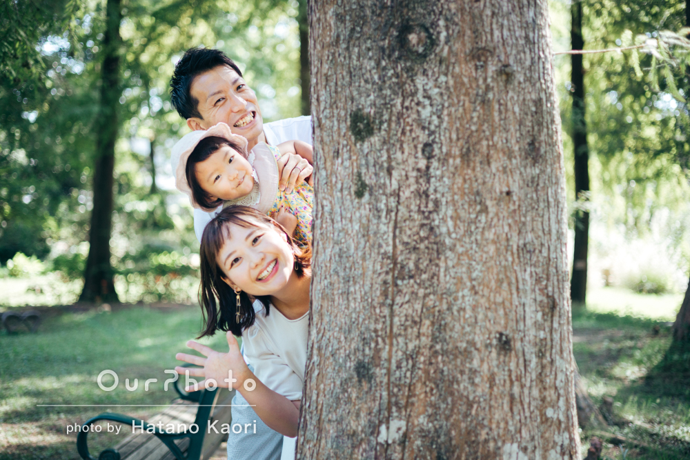 「今回も沢山素敵なお写真」2歳の誕生日記念に森の中で家族写真の撮影