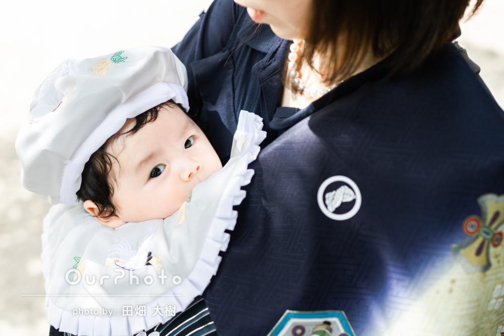 「終始ニコニコ顔で撮影してくださいました」紺色の産着でお宮参りの撮影