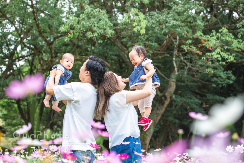 「たくさん思い出に残せてとても嬉しい」いっぱいの花と家族写真の撮影