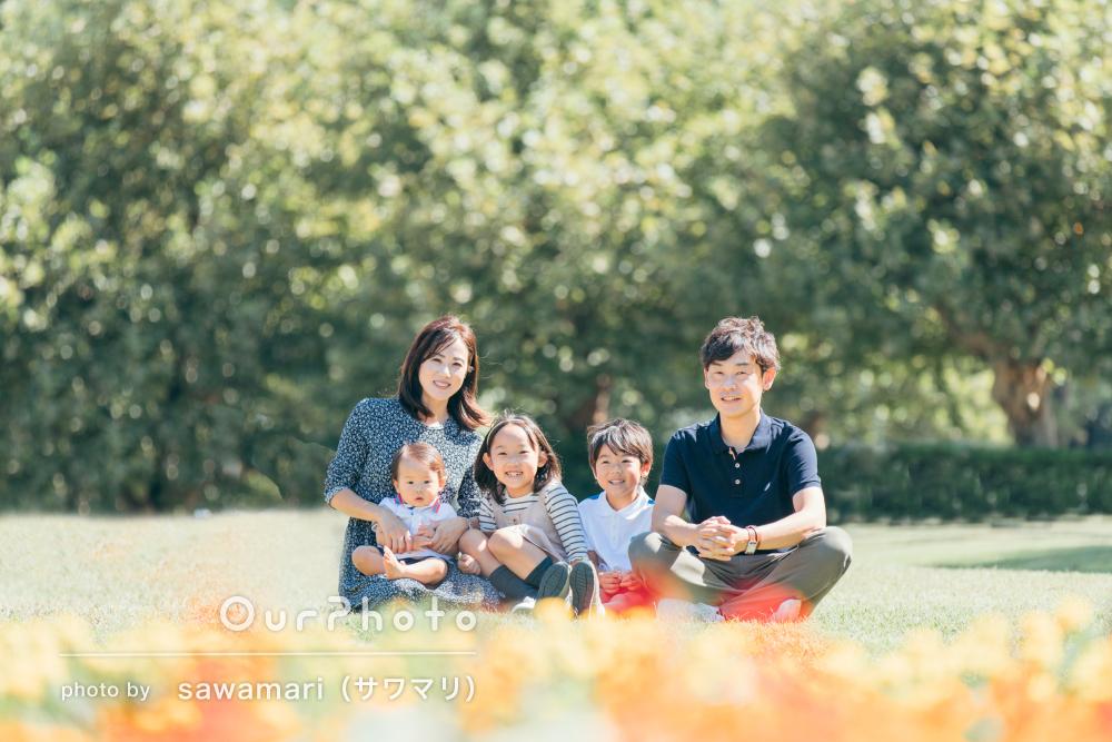 「とても素敵」緑でいっぱいの秋の公園で仲良し3姉弟の家族写真の撮影