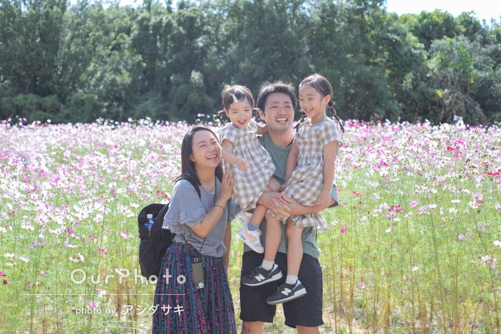 「素敵な写真がたくさんでびっくり」コスモス畑で家族写真の撮影
