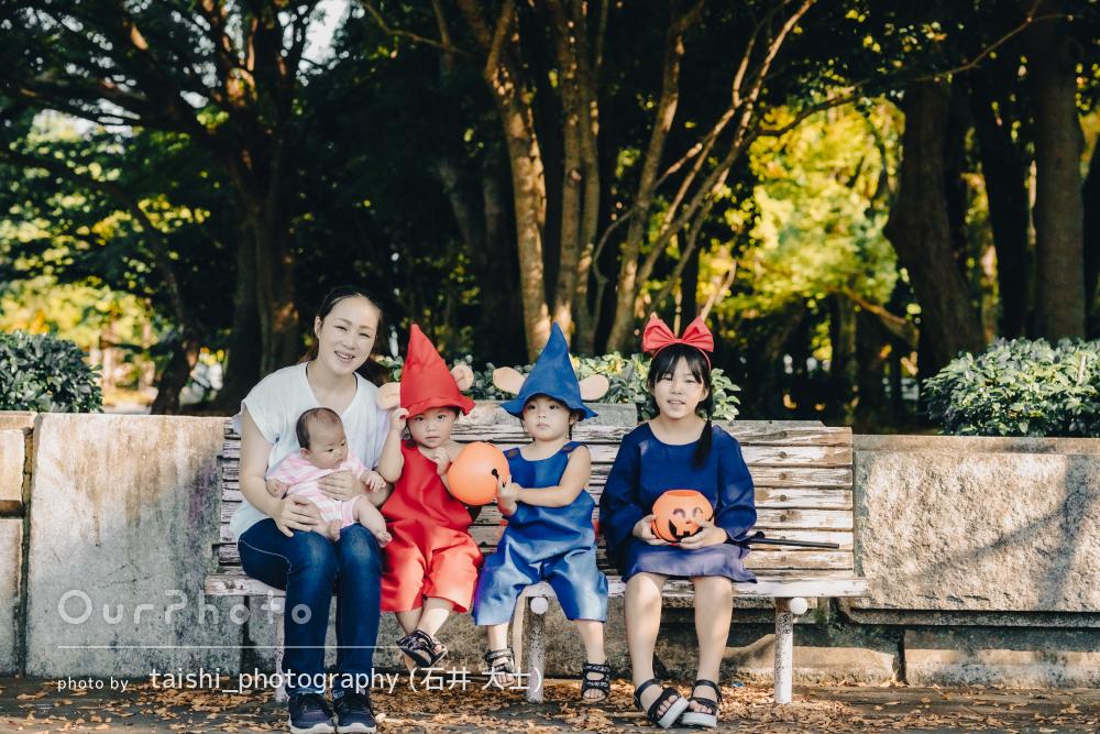 「元気いっぱいな子供達を自然な感じで」ハロウィン仮装で家族写真の撮影