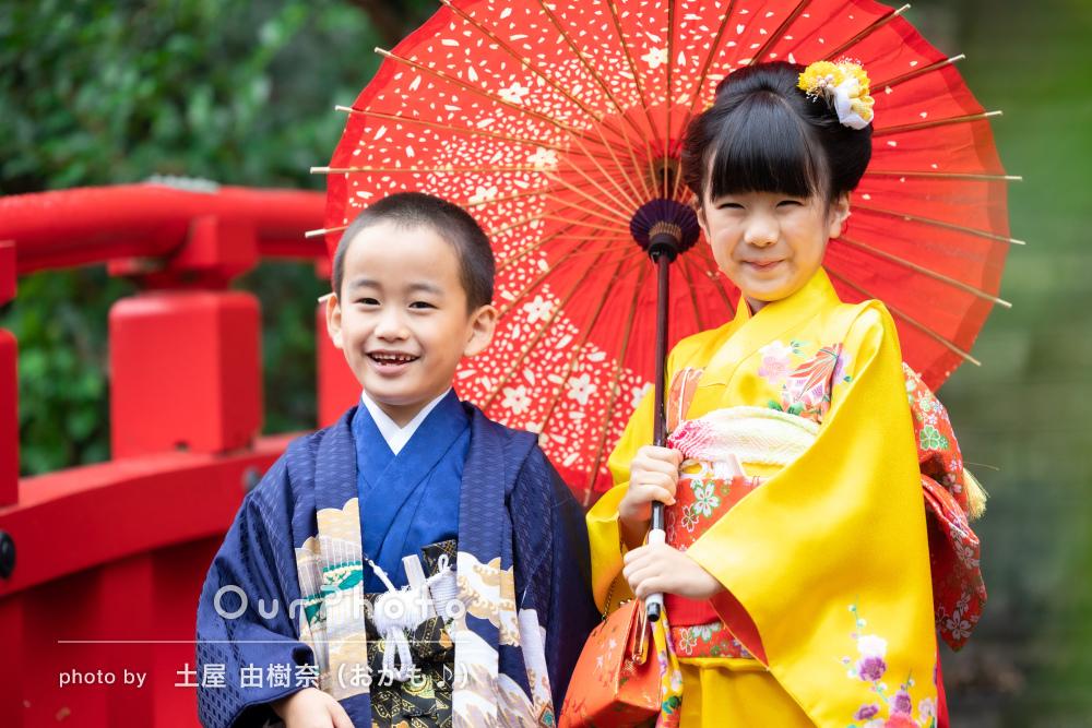 「子ども達もとても喜んでおります」かわいい笑顔で姉弟の七五三の撮影