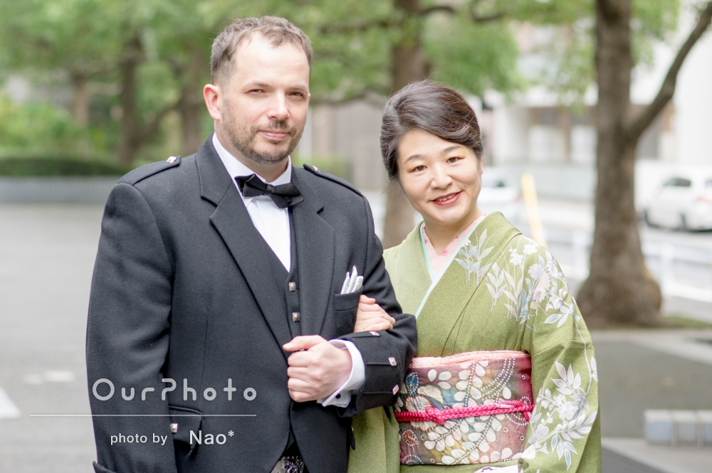 ご親戚の結婚式の合間に!「長年の夢が叶い満足」ご夫婦で記念写真の撮影