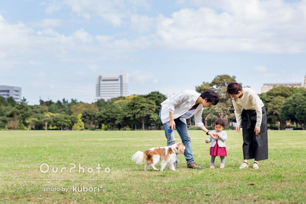 ペットのワンちゃんも一緒に!お子様の1歳記念に家族写真の撮影