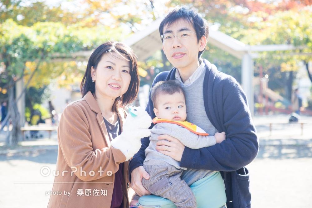 「リラックスしながら楽しく」お子様の1歳記念に家族写真の撮影