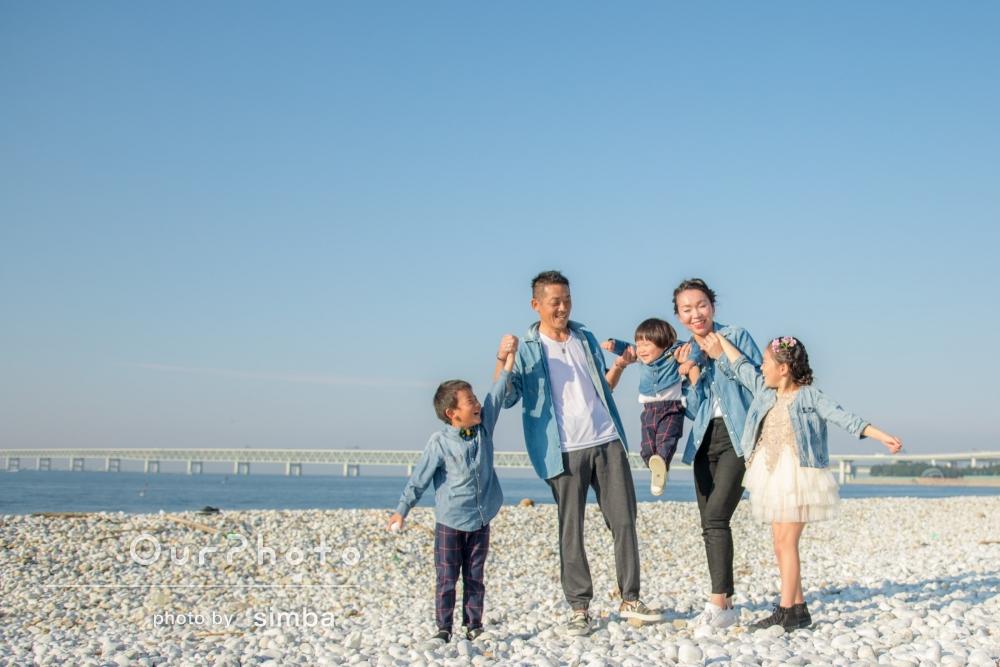 お子様のお誕生日に、ご結婚10周年記念の家族写真撮影