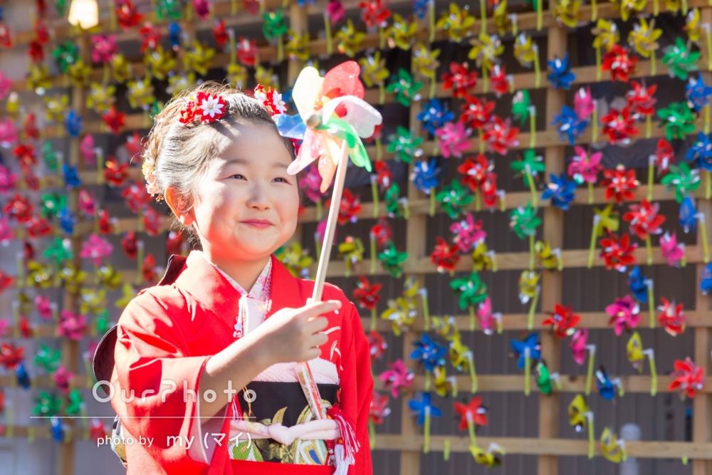日本らしい街並みを歩きながら、七五三写真の撮影