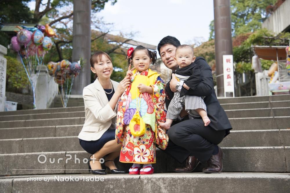 人ごみの神社でも、家族だけの七五三撮影