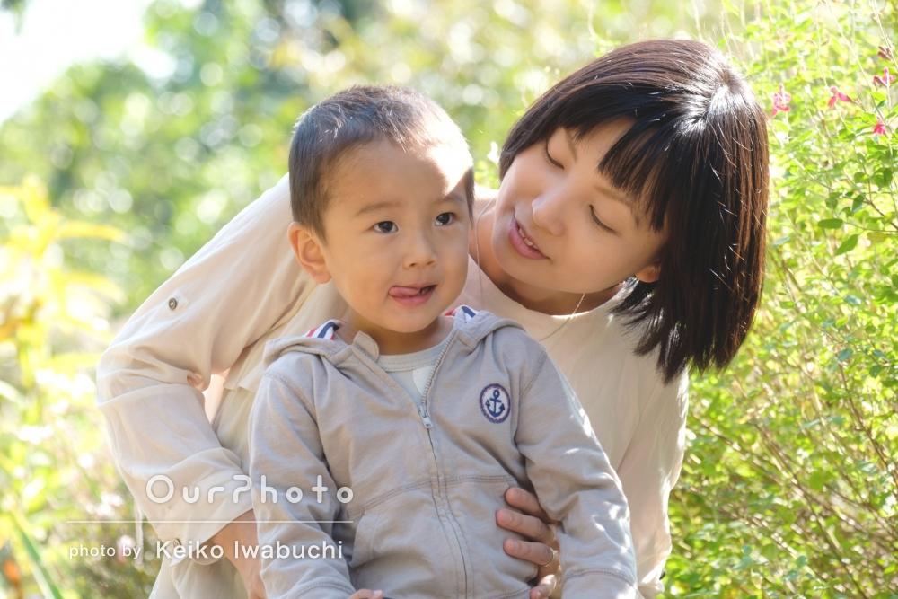 「光や緑をきれいに」プロフィール写真と親子ツーショット写真の撮影