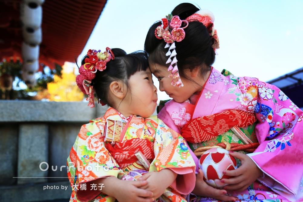 ご自宅と神社で3歳と7歳の姉妹の七五三撮影
