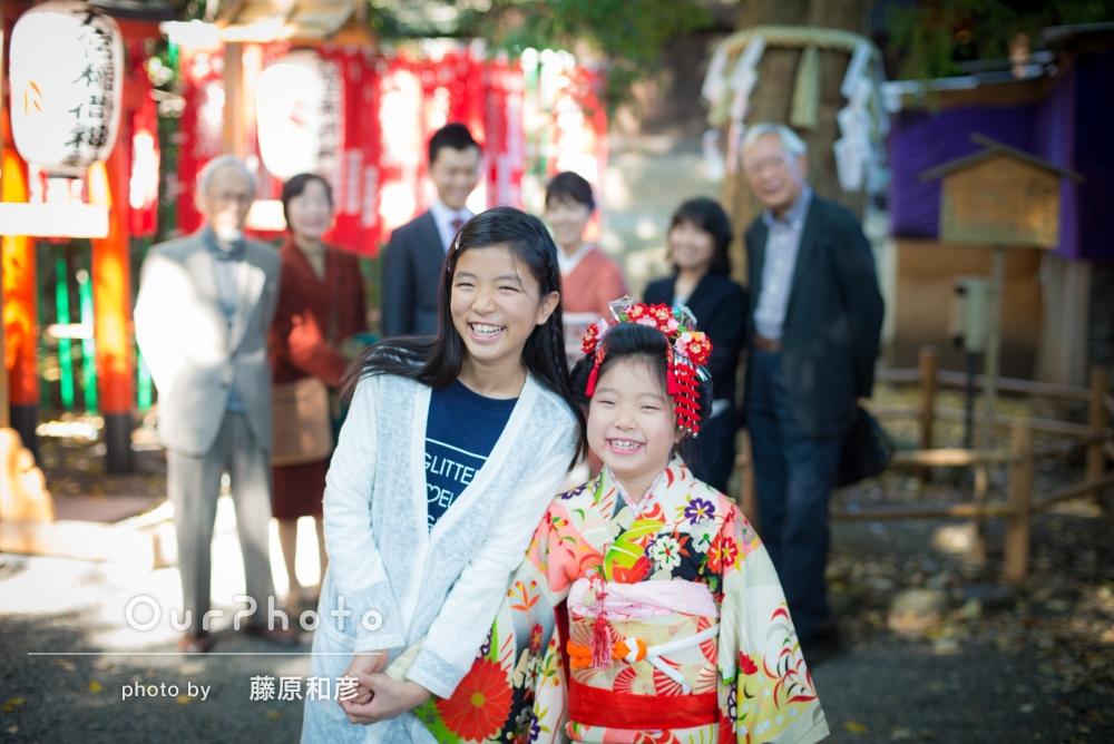 「子供たちの自然な笑顔の写真」七五三の撮影