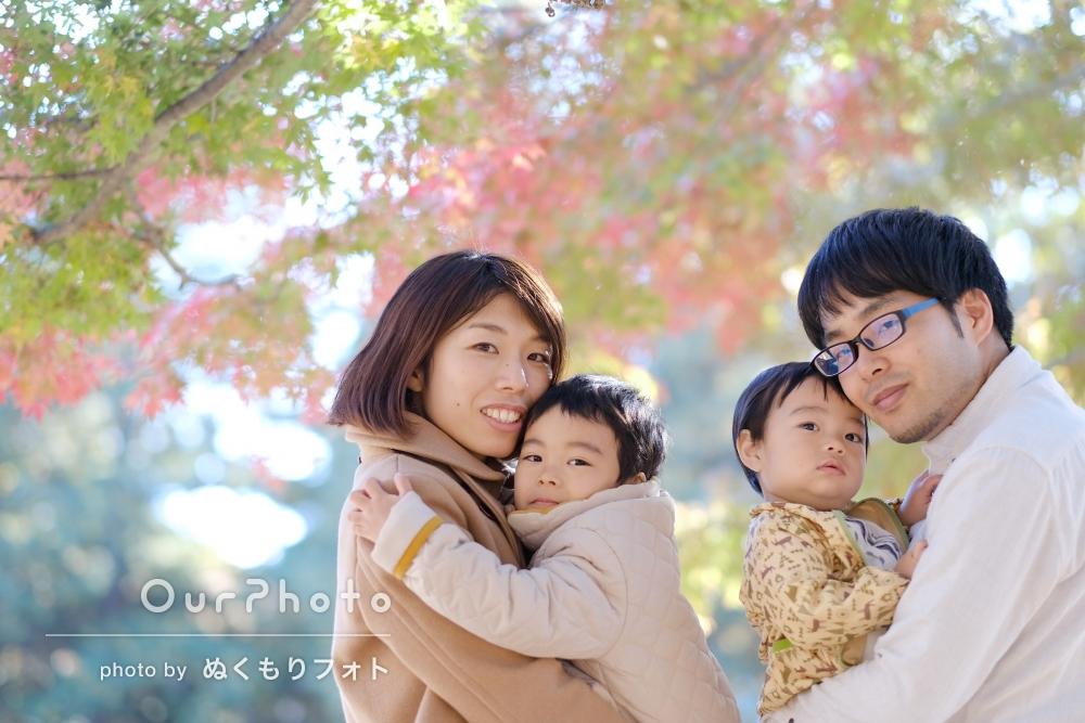 季節感たっぷり。お誕生日記念の家族写真撮影