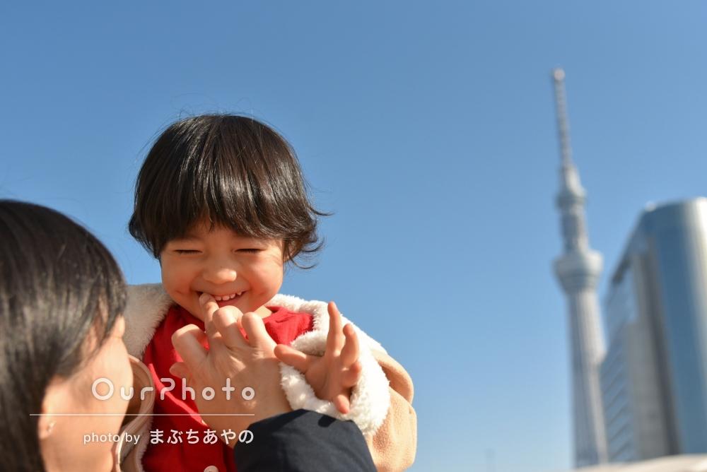 人見知りのお子様も「良い笑顔」家族でカジュアルフォト撮影