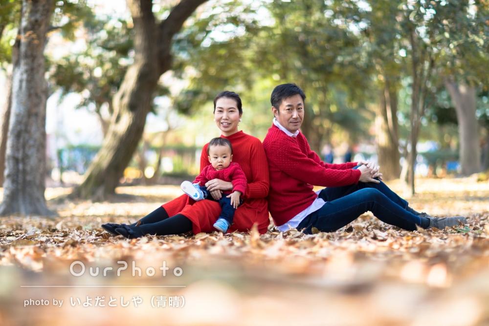 「息子の表情もバッチリ」お誕生日記念に家族写真の撮影