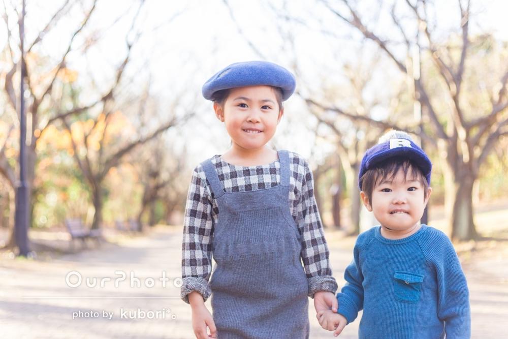 「子供達も楽しそう」年賀状用に、姉弟の姿を撮影