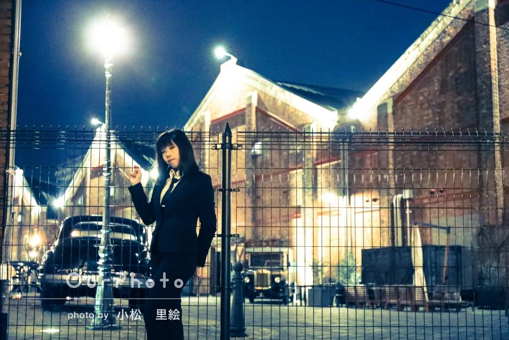 「かっこよくて素敵」夜の港にて、ひと味違ったプロフィール写真の撮影