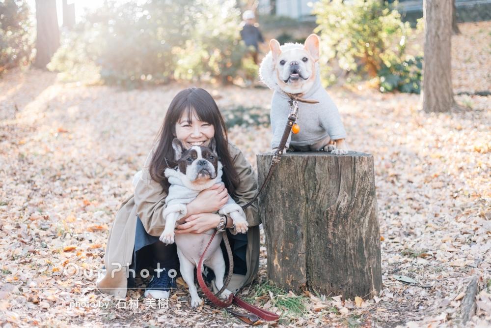 「また桜の季節にお願いしたい」ペットのワンちゃんとカジュアルフォト