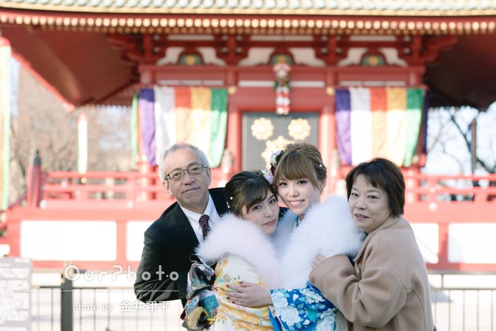振袖姿の娘さんたちと家族写真の撮影