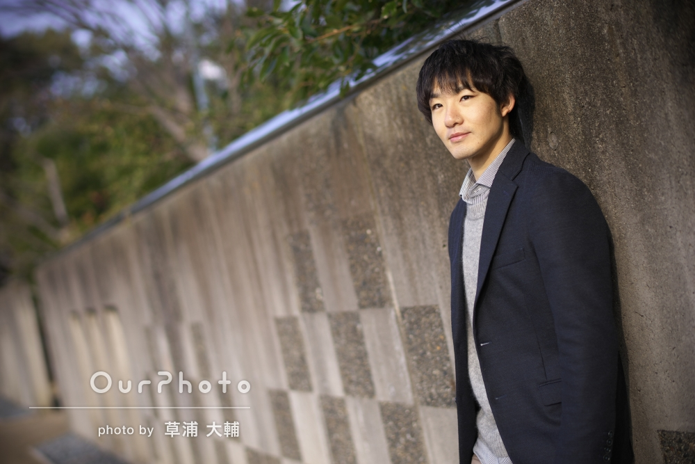 日本庭園にてSNS用プロフィール写真の撮影