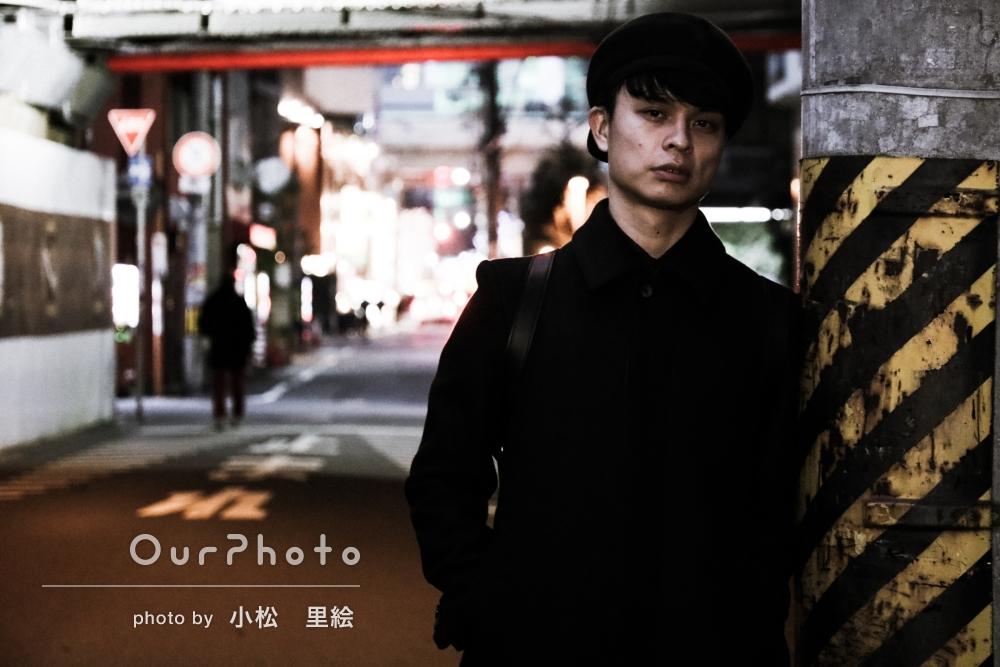 「おしゃれな写真を」街中でプロフィール写真の撮影