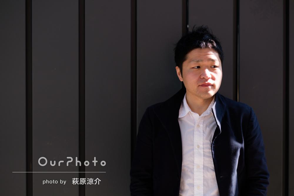 街中や公園で、カジュアルなプロフィール写真の撮影