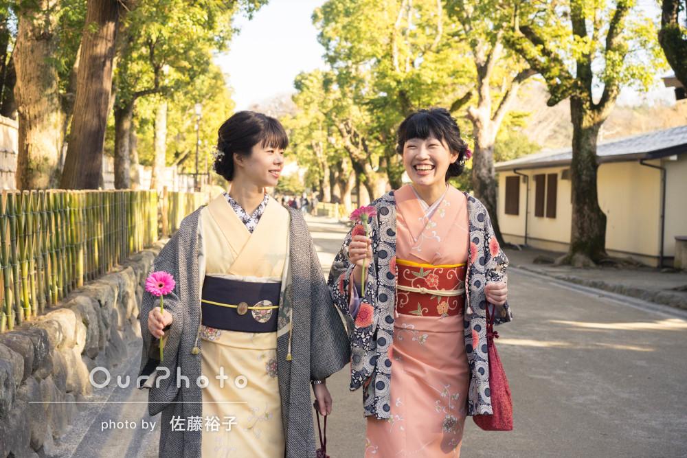 和装の鎌倉、お友達とのお出かけの撮影