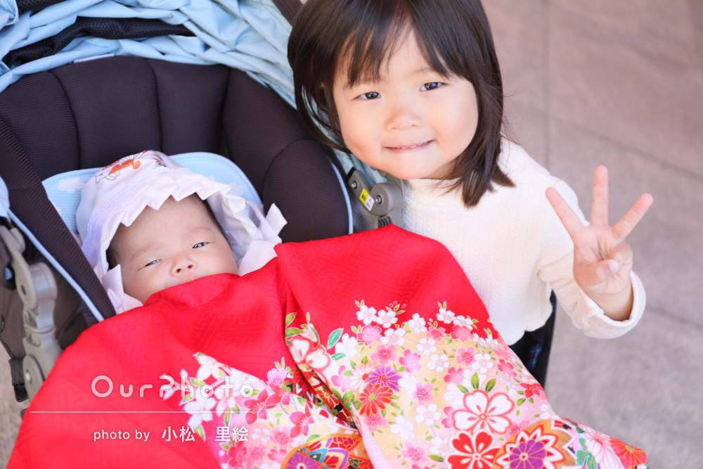お子様たちも素敵な表情。お宮参りの撮影