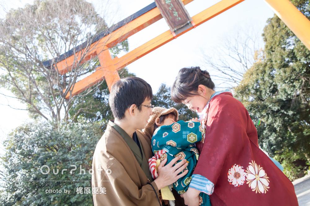パパママの結婚記念日に!和装で3人家族写真の撮影