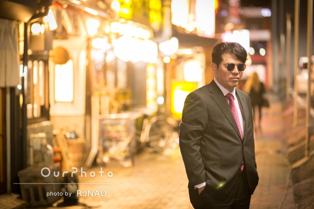 「きれいに撮って頂き…」夜の街中でプロフィール写真撮影
