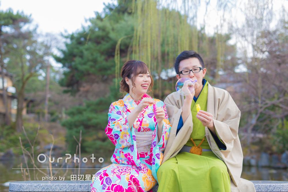 「お願いしてよかった」京都にて着物デートのカップルさん撮影