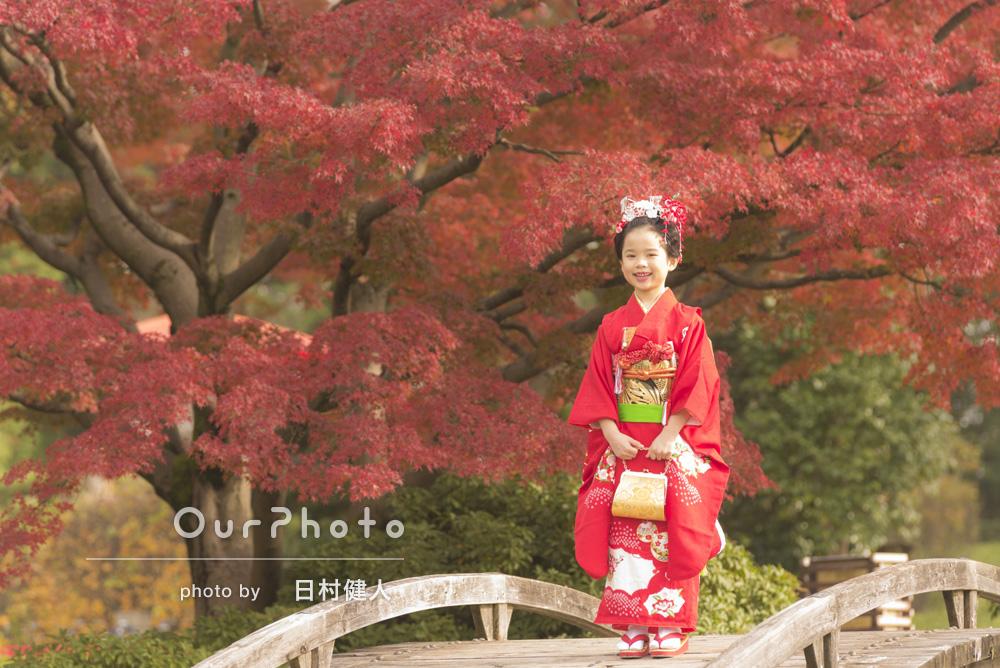 「スタジオではなく美しい紅葉と庭園を背景にできたことがとても新鮮!」七五三の撮影