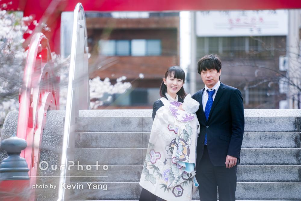 「家族みんなの宝物になりました」満開の桜とお宮参りの撮影