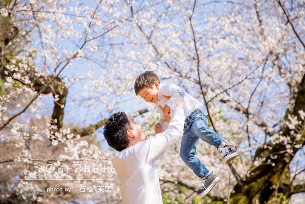 「感動しました」桜満開の公園で、家族写真の撮影