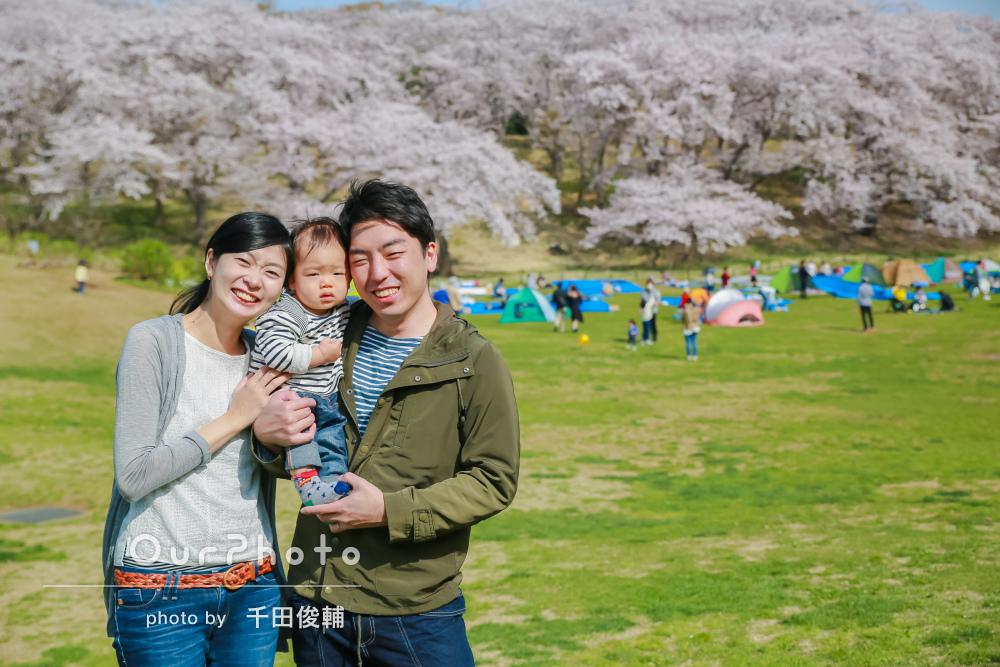 満開の桜と!「とても楽しい」はじめての家族写真の撮影