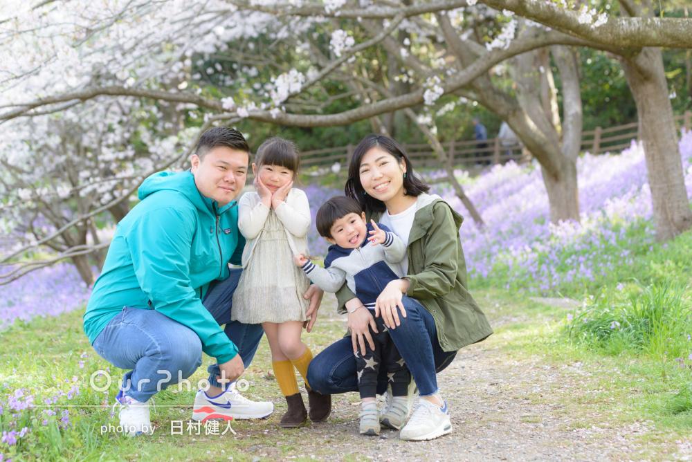 「終始優しい声かけでリラックス」春爛漫!家族写真の撮影