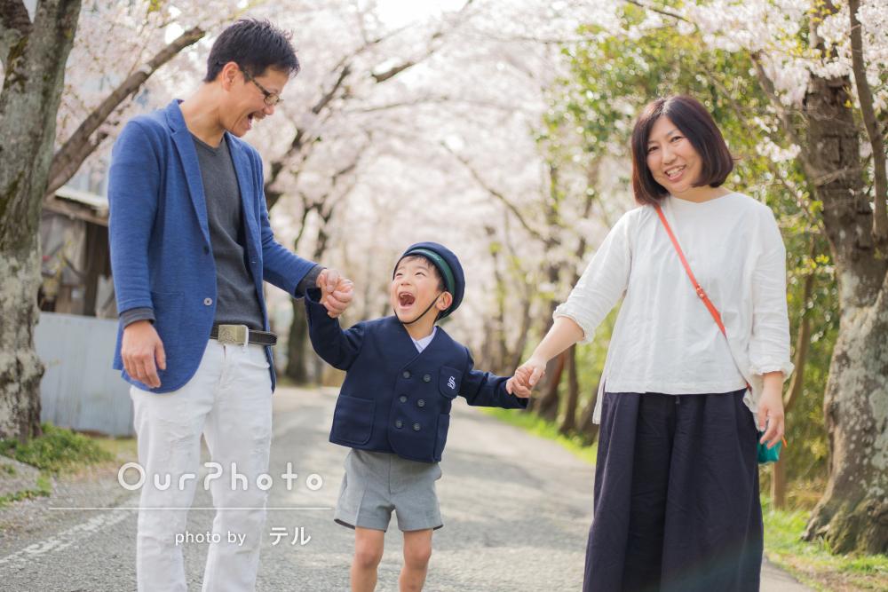 桜並木をお散歩しながら。家族写真の撮影
