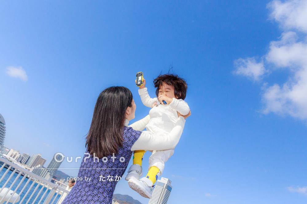 「海の見える街、神戸旅行で撮影してもらいました!」旅行の写真撮影