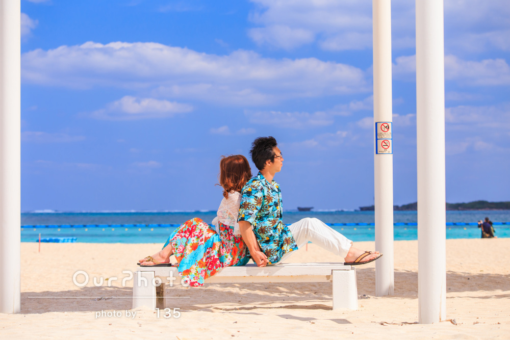 「いい写真ばかりだった」透き通る青い海を背景に!カップルフォト