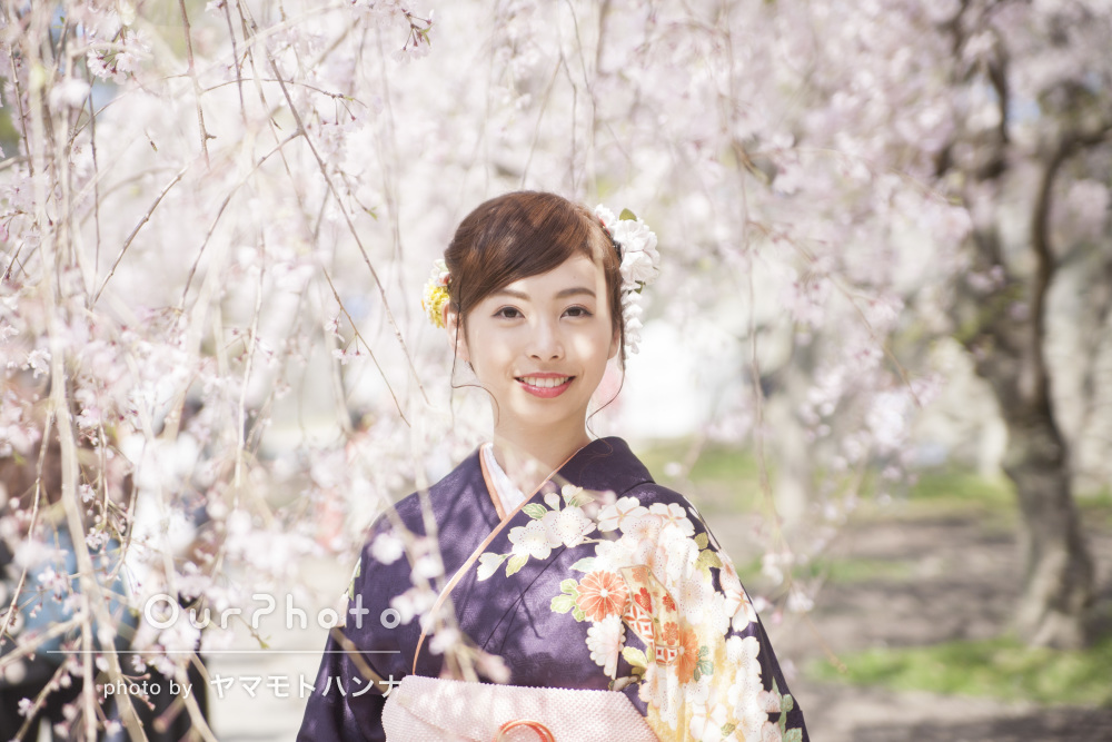 しだれ桜に包まれて。美しい成人式の前撮り