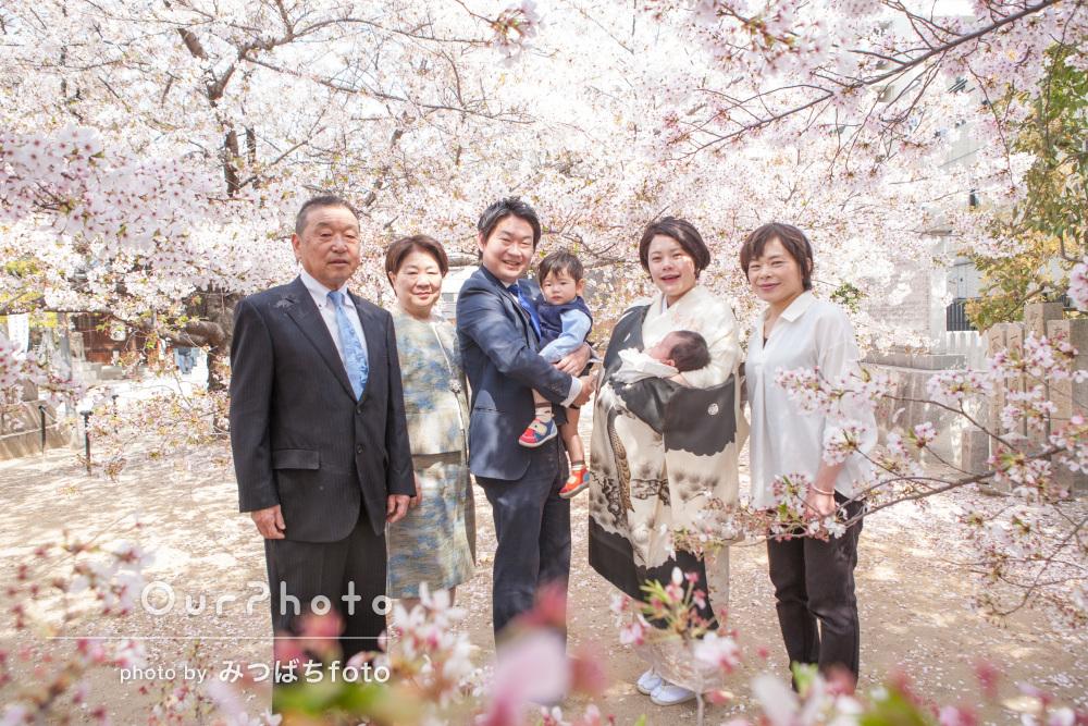 「桜の季節…せっかくなので」お宮参りにはじめての出張撮影!