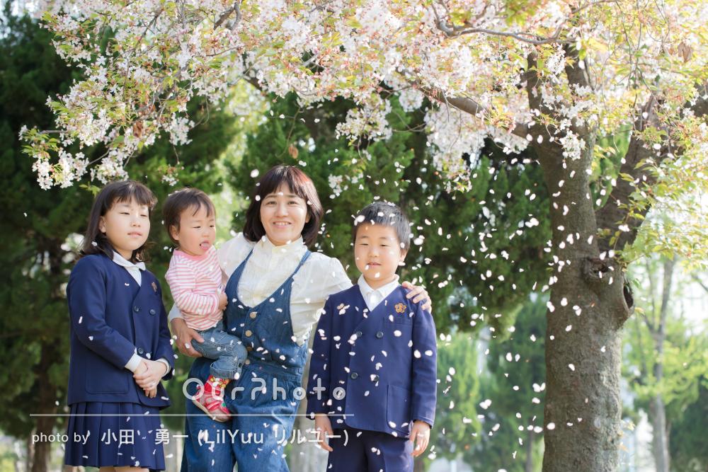 「プロに屋外でとってもらう写真はいいですね!」桜舞散る家族写真の撮影